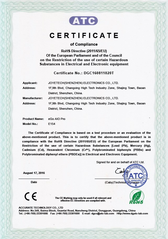 Joyetech AIO Pro Certificate