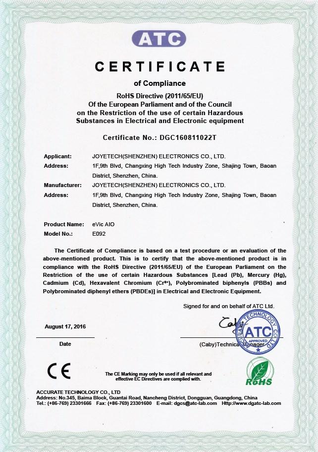 Joyetech eVic AIO Certificate