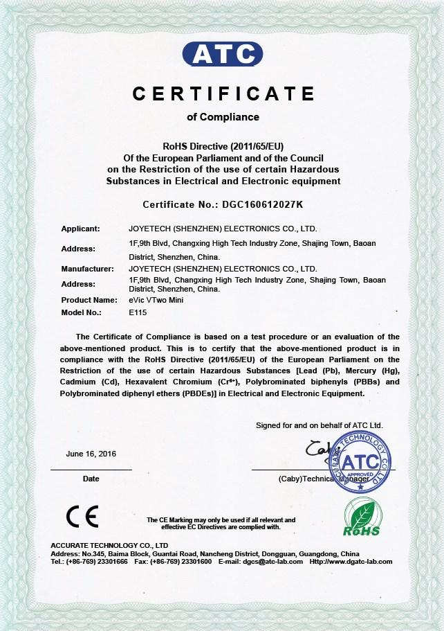 Joyetech eVic Basic Certificate