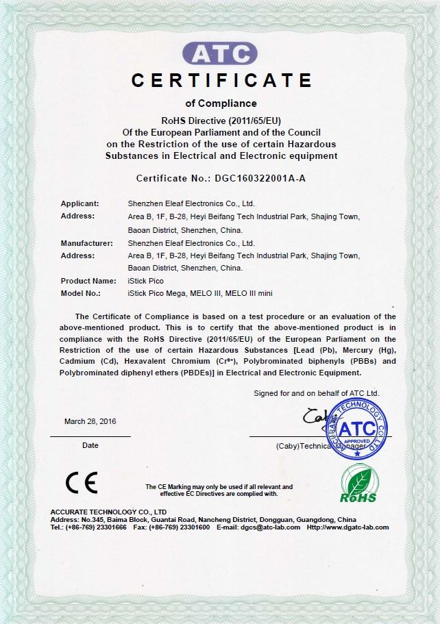 Eleaf Pico Mega Certificate