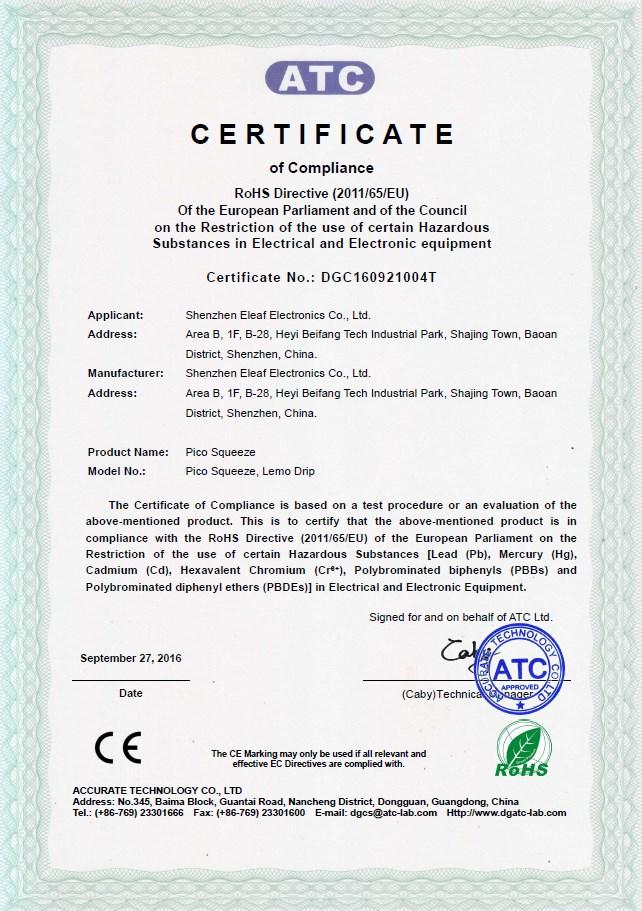 Eleaf Pico Squeeze Certificate